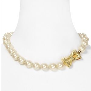 Kate Spade Pearl and Gold Bow necklace